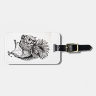 Squirrel Ink Illustration on Luggage Tag