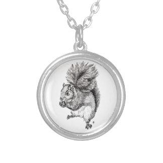 Squirrel Ink Illustration on Necklace - Round
