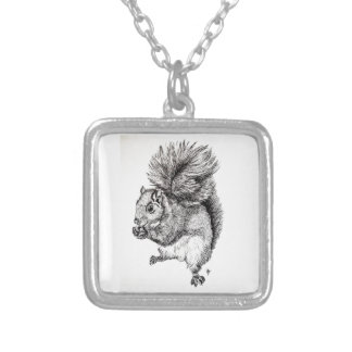 Squirrel Ink Illustration on Necklace - Square