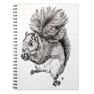 Squirrel Ink Illustration on Notebook