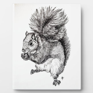 Squirrel Ink Illustration on Photo Plaque