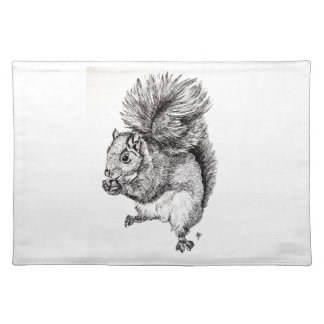 Squirrel Ink Illustration on Placemat