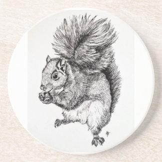 Squirrel Ink Illustration on Sandstone Coasters