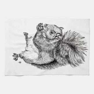 Squirrel Ink Illustration on Tea Towel
