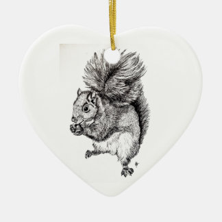 Squirrel Ink Illustration on Tree Ornament -Heart