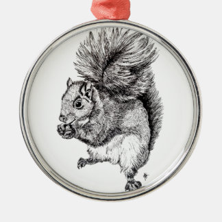 Squirrel Ink Illustration on Tree Ornament -Round