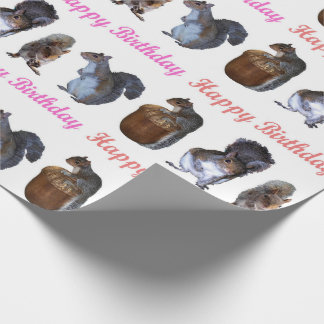 Squirrel Lineup Pink Hues Birthday Wrapping Paper