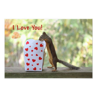 """Squirrel Looking Inside Heart Box, """"I Love You"""" Art Photo"""