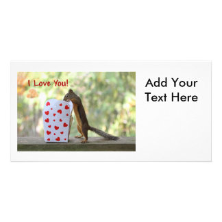 """Squirrel Looking Inside Heart Box, """"I Love You"""" Personalized Photo Card"""