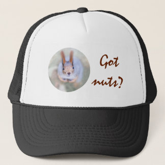 Squirrel looks at you from the bottom up trucker hat