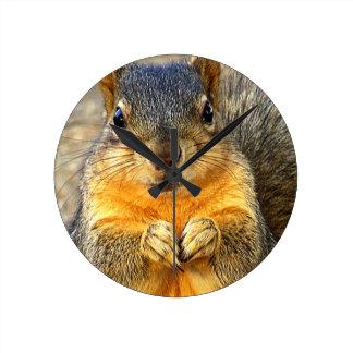 Squirrel Love_ Round Clock