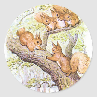 Squirrel Meeting Classic Round Sticker