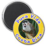 Squirrel Monkey, Pura Vida, Costa Rica 6 Cm Round Magnet
