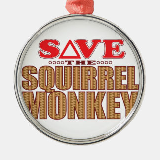 Squirrel Monkey Save Silver-Colored Round Decoration