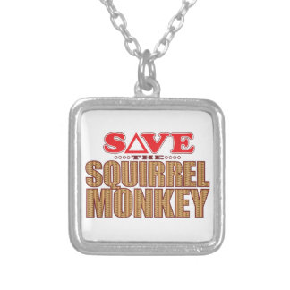 Squirrel Monkey Save Silver Plated Necklace