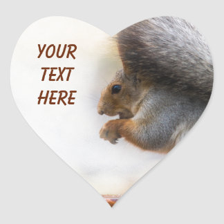 Squirrel on a bench and some nuts heart sticker