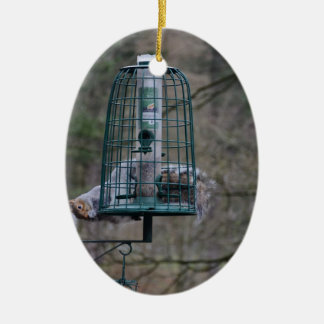 Squirrel on bird feeder ceramic oval decoration