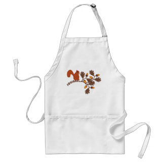 Squirrel on Branch Applique-look Thanksgiving Adult Apron