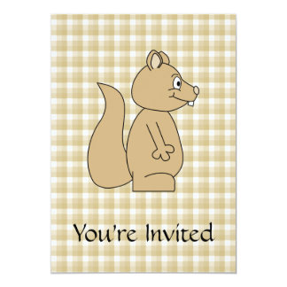 Squirrel on Check Pattern Background. Card