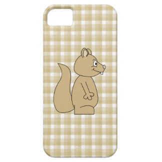 Squirrel on Check Pattern Background. iPhone 5 Case