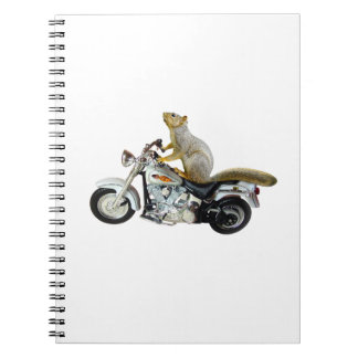 Squirrel on Motorcycle Spiral Notebooks