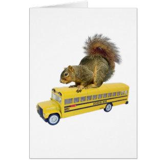Squirrel on School Bus Card