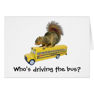 Squirrel on School Bus Cards