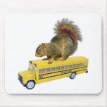Squirrel on School Bus Mousepad