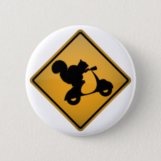 Squirrel on Scooter 6 Cm Round Badge