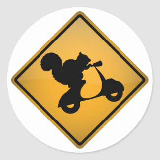 Squirrel on Scooter Classic Round Sticker