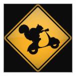 Squirrel on Scooter Warning Sign Invitation 13 Cm X 13 Cm Square Invitation Card