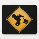 Squirrel on Scooter Warning Sign Mouse Pad