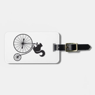 squirrel on vintage bicycle luggage tag