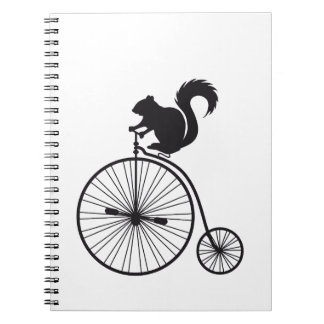 squirrel on vintage bicycle notebooks