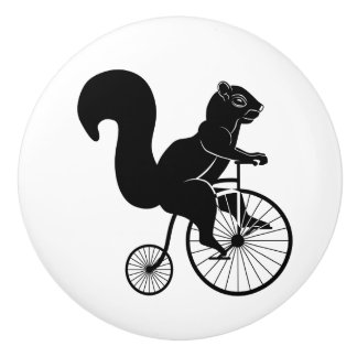 Squirrel on Vintage Bike Ceramic Knob
