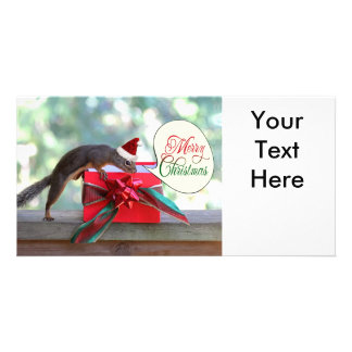 Squirrel Opening Christmas Present Photo Card Template