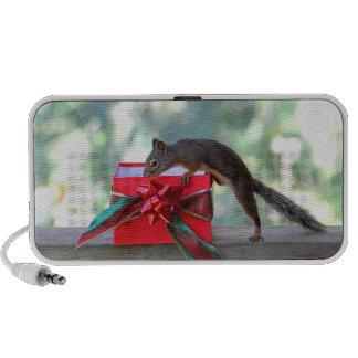 Squirrel Opening Christmas Present Laptop Speaker