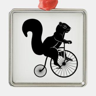 Squirrel or Chipmunk riding on a Bike Christmas Ornament