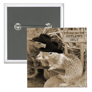 Squirrel Outlaws In The Old West 15 Cm Square Badge