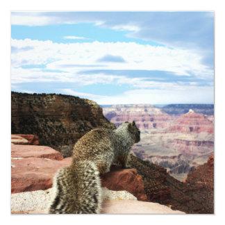 "Squirrel Overlooking Grand Canyon, Arizona 5.25"" Square Invitation Card"
