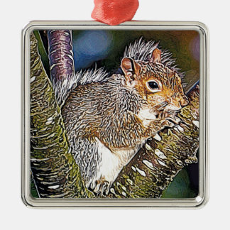 Squirrel Painting Christmas Ornament