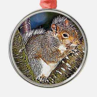Squirrel Painting Silver-Colored Round Decoration