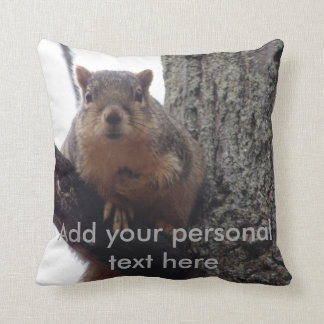 Squirrel pillow with personal text