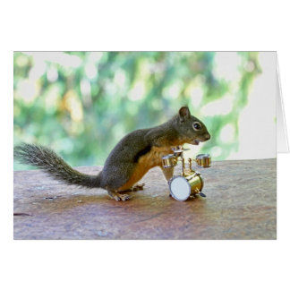 Squirrel Playing Drums Card