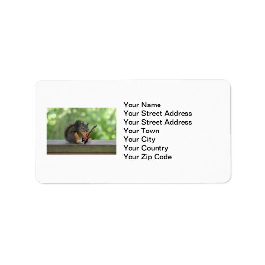 Squirrel Playing Electric Guitar Address Label