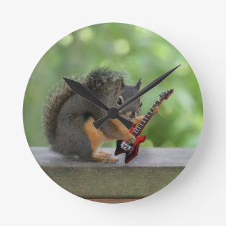 Squirrel Playing Electric Guitar Round Clock