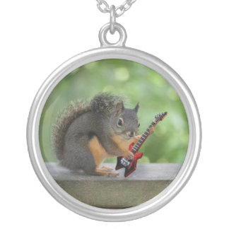 Squirrel Playing Electric Guitar Silver Plated Necklace