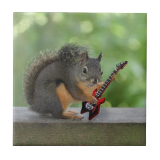 Squirrel Playing Electric Guitar Small Square Tile