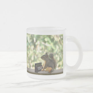 Squirrel Playing Piano Frosted Glass Mug