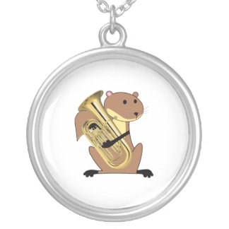Squirrel Playing the Euphonium Silver Plated Necklace